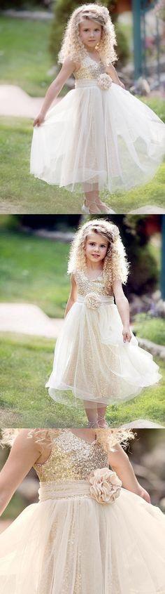Ivory gold flower girl dress, Rustic sequin Flower girl dress, Country flower girl dresses, FG0115