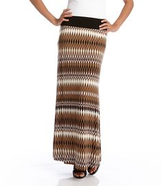 I LOVE this Karen Kane maxi skirt + strappy sandals! Neutral Tribal Fabric Color and Design that would pair easily with black, white or natural colors! Tribal Fabric, Ikat Fabric, Tribal Fashion, Womens Fashion, Style Fashion, Tribal Patterns, Fashion Gallery, Black And Brown, Black White