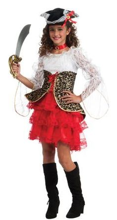Our Seven Seas Pirate Girl #Costume will be a hit at any #Halloween party or trick-or-treating adventure. Everyone will rave about this Pirate Costume, which is the perfect costume for any Halloween event. The Pirate Girl costume includes, dress and hat. Additional Pirate themed costumes and accessories are available and sold separately.