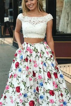 Sale Suitable 2019 Prom Dresses Princess Two Piece White Lace And Floral Long Prom Dress With Open Back Prom Dresses, White Lace Prom Dress, Open Back Prom Dress, Prom Dress Two Piece, Prom Dress White Prom Dresses Long Prom Dresses With Pockets, Open Back Prom Dresses, Prom Dresses 2018, Backless Prom Dresses, Cheap Prom Dresses, Evening Dresses, Dress Prom, Party Dresses, Quinceanera Dresses