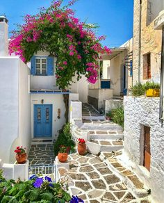 The picturesque small alley of Lefkes village in Paros island