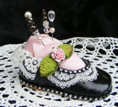 Altered Baby Girl Dress Shoe Pin Cushion Flower Lace Rhinestones by Toni | eBay