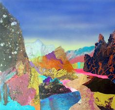 The techniques Australian artist Kate Shaw is using to create her wonderful works are pretty unique: first, she pours skins of acrylic paint and lets them form naturally; then she looks for landscapes within these abstract forms to cut and reassemble. The outcome are collages that remind you of natural landscapes, showing trees, mountains and lakes, but still giving you a surreal sensation.