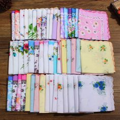 Various Vintage Hankies Floral Pocket Womens Accessories Flower Square Handkerchiefs Lady Women Style Cotton inch colorful Handkerchief Crafts, Pocket Handkerchief, Wedding Handkerchief, Floral Flowers, Fabric Flowers, Fabric Crafts, Sewing Crafts, Sewing Projects, Diy Crafts
