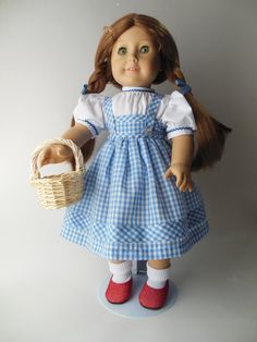 """Dorothy from The Wizard of Oz costume for American Girl 18"""" Doll, Storybook costume"""