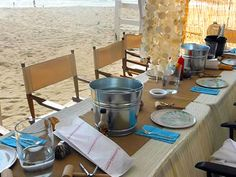 Casual beach wedding reception. Clambake OC, Southern California Wedding Caterer