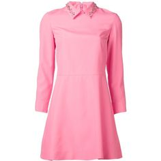 VIKTOR & ROLF stud collar dress (905 BRL) ❤ liked on Polyvore featuring dresses, vestidos, studded collar dress, short pink dress, pink dress, studded dress and pink long sleeve dress