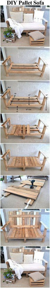 DIY Pallet Wood Outdoor Sofa #DIYHomeDecorOutdoor
