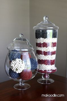 Apothecary Jar Holiday Decor out of beans for te 4th of july