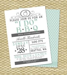 ANY Color I DO BBQ Wedding Shower Couples Shower Barbecue Rehearsal Dinner Engagement Party BabyQ Vintage Typography Mint Grey - Any Event