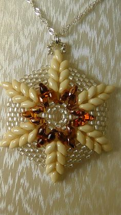 .Beaded snowflake PICTURE only, looks like twin beads