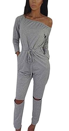 48d5c6fd371 Hibluco Women s Sexy Off Shoulder Jumpsuits Knee Hole Pants Party Club  Rompers (Large Gray)