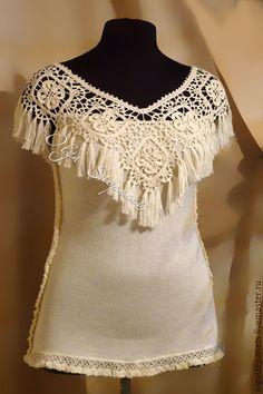 Комбинированный летний топ с кистями #lace #top #crochet