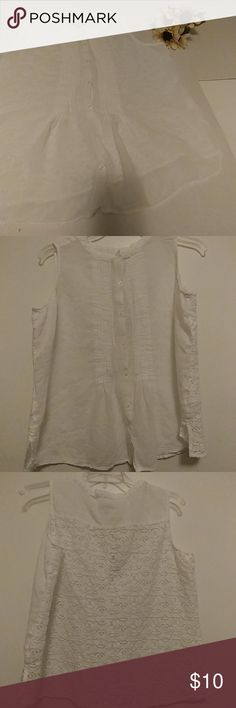Liz Claiborne Peasant Top White peasant to with full lace back 44' Bust 26' Shoulder to Hem Liz Claiborne Tops Blouses