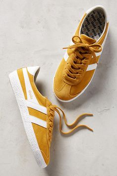 Slide View: 1: Gola Yellow Suede Sneakers