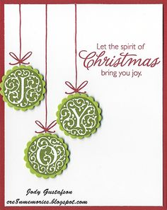 """Monograms can be used for word cards.   """"JOY"""" at Christmas with the monograms makes a Clean and simple card."""