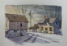 "https://flic.kr/p/QQi7AH | Line and wash ""Winter Farm"" at dusk. New YouTube Video. 
