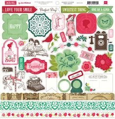 Echo Park - Jack & Jill (Girl) Collection Kit and Ephemera Die Cuts. SAVE Kit contains: - Twelve high quality double-sided papers - One element stickers - One alphabet sticker sheet - 33 Ephemera Die Cut Cardstock pieces Made in the USA! Alphabet Stickers, Craft Stickers, Cute Stickers, 12x12 Scrapbook, Scrapbook Stickers, Scrapbooking, Love Your Smile, Echo Park Paper, Jack And Jill