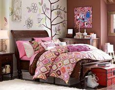 Dormitorio en rosa y chocolate