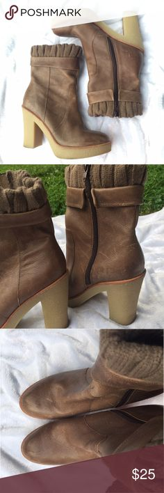 "Gap knit cuff crepe heel leather all weather boots Very cute and comfortable for 4.5"" heels. 1.25"" platform. 7.5"" height. Taupe leather in a tumbled design. Worn a handful of times. Size 9 GAP Shoes Ankle Boots & Booties"
