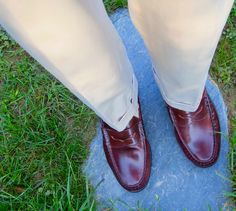 3/2 roll Navy Blazer, Broadcloth BD, tapered Stone Poplin trousers, cotton socks – all by J. Press. Shell cordovan loafers, belt, and watch strap.