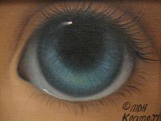 Rare Vintage 1977 Margaret Keane Original Oil Canvas Painting Big Blue Eye 1/1