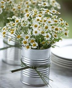 Special {Week 38 tin can centerpieces rustic-wedding-ideas, would be super cute with a photo modge podged on it!tin can centerpieces rustic-wedding-ideas, would be super cute with a photo modge podged on it! Tin Can Centerpieces, Wedding Table Centerpieces, Wedding Decorations, Centerpiece Ideas, Backyard Party Decorations, Lollipop Centerpiece, Inexpensive Wedding Centerpieces, Dyi Decorations, Simple Table Decorations