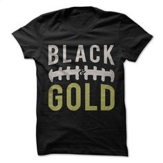 Black and Gold Football T Shirts, Hoodies, Sweatshirts - #sleeveless hoodie #custom shirt. CHECK PRICE => https://www.sunfrog.com/Sports/Black-and-Gold--Football.html?id=60505