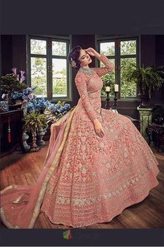 Siya Fashions Memorialize Coral Anarkali Gown In Diamond Work Net and banglori silk Anarkali suit. Fully heavy diamond work and embroidery work. Kameez length is approximately inches. Semi-Stitched can be stitched up to bust 42 in (UK Size Silk Anarkali Suits, Anarkali Gown, Designer Gowns, Designer Wear, Bollywood Fashion, Bollywood Style, Pakistani Bridal Dresses, Fancy Sarees, Saree Wedding