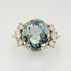 Understated Elegant 4.58ct t.w. Oval Cushion Aquamarine & Diamond Ring 14k