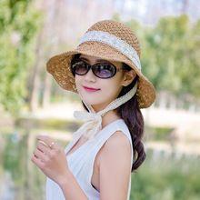 Simple moda mujer sombreros de verano gran sombrero de paja de la rafia  Encaje cinta Encaje 286614bf951
