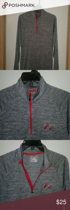 UNDER ARMOUR  LONG SLEEVE PULL-OVER? UNDER ARMOUR  LONG SLEEVE PULLOVER, variegated gray w/red zipper,  red Under Armor logo. In NEW condition maybe wore once.  *Small LOOSE-fit (heatgear)??? LISTED PRICE OBO  ❤NEW CONDITION❤ UNDER ARMOUR Other