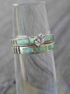 Opal Wedding Ring Set by hollywoodrings on Etsy, $145.00