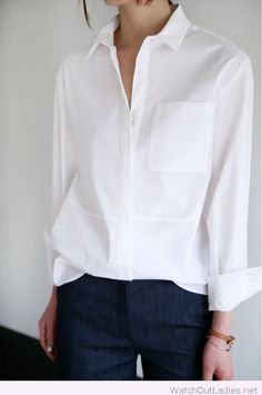 Dark jeans and white shirt look inspiration