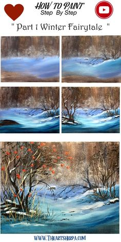 How to paint a Snowscape full Acrylic on Canvas step by step, free video lesson and traceable. This is perfect for your home painting party. Are YOU ready to Enjoy this Beginners step by step how to p Canvas Painting Tutorials, Acrylic Painting Techniques, Diy Canvas Art, Acrylic Painting Canvas, Watercolor Painting, Acrylic Tutorials, Watercolor Tips, Canvas Canvas, Abstract Paintings