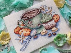 "Finished work by pattern ""Cup with coffee"" #sa_stitch #sa_pattern #pattern #crossstitch"
