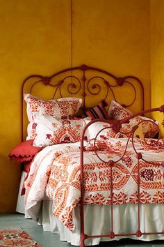 New Anthropologie Abaza Orange Red White Embroidered Moroccan Queen Duvet Cover | eBay
