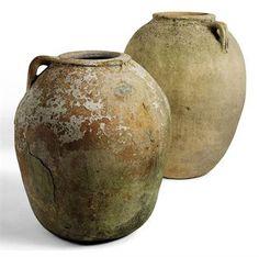 Ancient vessels - probably Turkey Diy Garden Fountains, Garden Pots, Ceramic Pots, Clay Pots, Glazes For Pottery, Pottery Art, Earthenware, Stoneware, Objets Antiques