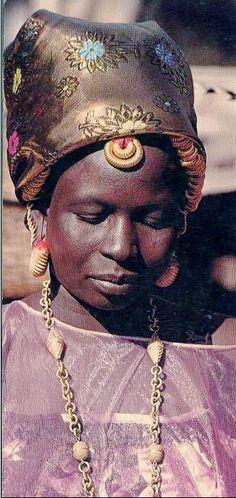 Africa   Woman from Saint Louis, Senegal    Scanned old postcard; photographer Michel Renaudeau