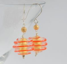 Gold foil and orange swirl murano glass bead silver earrings £30.00