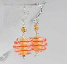 Gold foil and orange swirl murano glass bead silver earrings £30.00