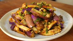 Eggplant side dish (Gaji-namul) recipe - eggplant, fish sauce, garlic, green onion, hot pepper flakes, sesame oil, sesame seeds, soy sauce