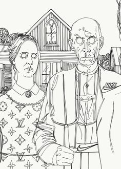 Coloring Pages - The Scream, American Gothic, Beasts of the Sea, and O'Keeffe's Poppy. Also an Artist Reflection Sheet- sub plans American Gothic Parody, Art Handouts, Coloring Pages, Coloring Sheets, Colouring, Grant Wood, Classroom Art Projects, Art Worksheets, Art Lessons Elementary