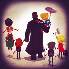 Andry Rajoelina Draws Marvel Parents and Villains walking their children to school: Avengers Family Assemble