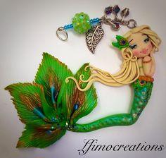 Sirenetta pavone - non disponibile #like  #instagood #follow #creative #artoftheday #lfimocreations #clay #creation #polymerclay #handmade #miniature #picoftheday #photooftheday #jewellery #jewelry #jewels #handmadejewelry #italia #italy #mermaid #peacock #green #doll  #leaf #gold