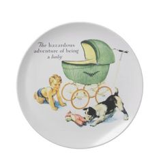 """Vintage Nursury Wall Decoration  An adorable vintage illustration of a crawling baby boy watching intently as the little terrior plays with his teddy bear. The caption reads, """"The Hazardous Adventure of Being a Baby"""". A very cute nursery decoration."""