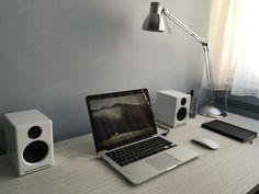 "analogni: ""my zen desk "" Zen Desk, Minimal Desk, Tech Branding, Computer Set, Glass Office, Simple Desk, Workspace Inspiration, Desk Setup, Gaming Setup"