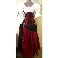 Buccaneer Wench Skull design Under Bust Corset Top Skirt and Sash - BLOOD RED Skull Design with Burgundy Skirt by LoriAnn - Choose size. $214.99, via Etsy.