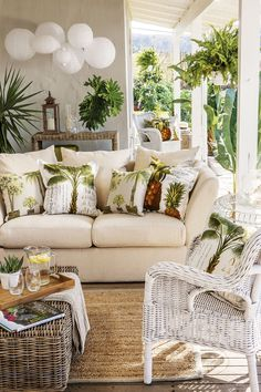 Love The White Sofa And Palm Tree Pillows.