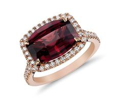 Rhodolite Garnet and Micropave Diamond Halo Ring